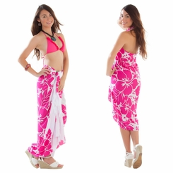 Triple Lei White Sarong in Pink/White - Call to Order