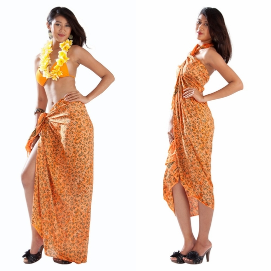 Tropical Bamboo Floral Sarong in Orange