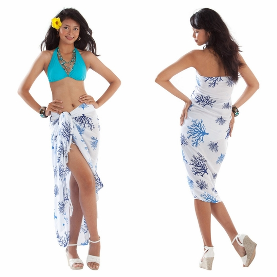 Tropical Coral Sarong in Blue