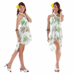 Tropical Coral Sarong in Green