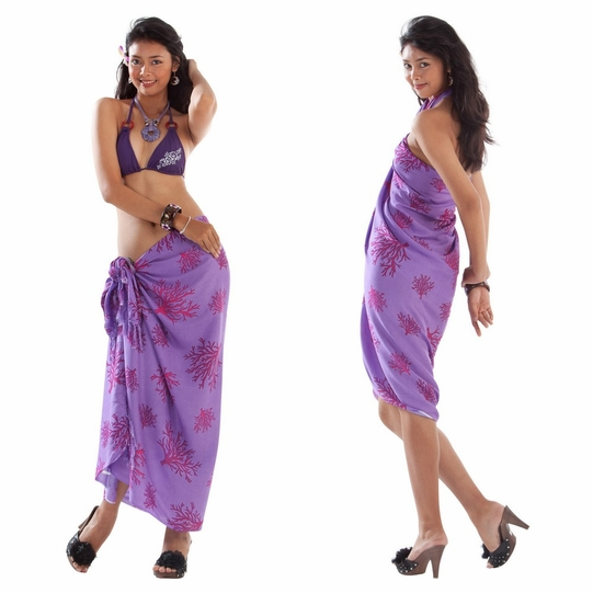 Tropical Coral Sarong in Light Lavendar