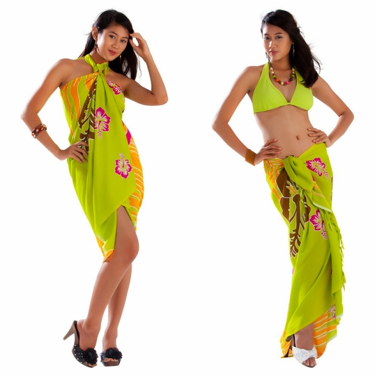 Tropical Floral Sarong in Lime Green