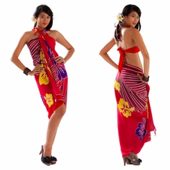 Tropical Floral Sarong in Red
