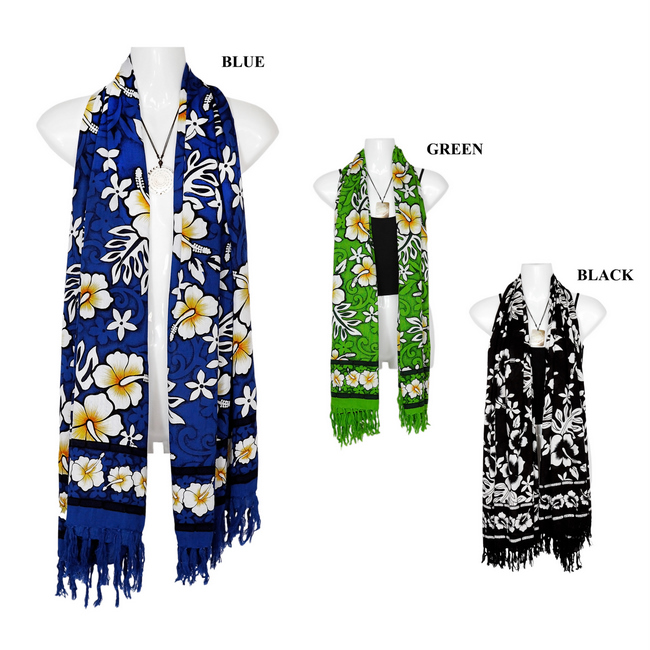1f85bdb4affca Tropical Hibiscus Floral Design Extra Wide Neck Scarf, Wrap or Shawl ...