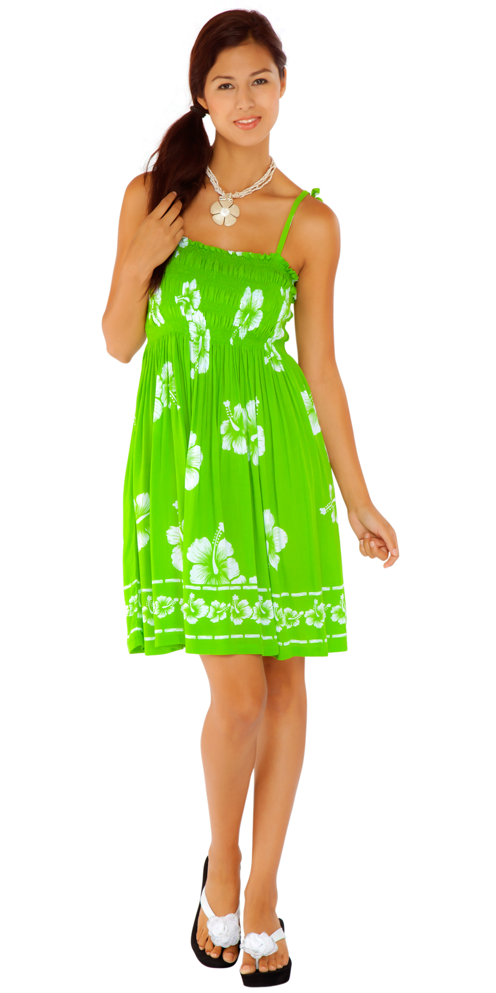 9c26bfb7e0 Tube top sundress hibiscus design in lime green white jpg 1000x2000 Cotton tube  top sundresses