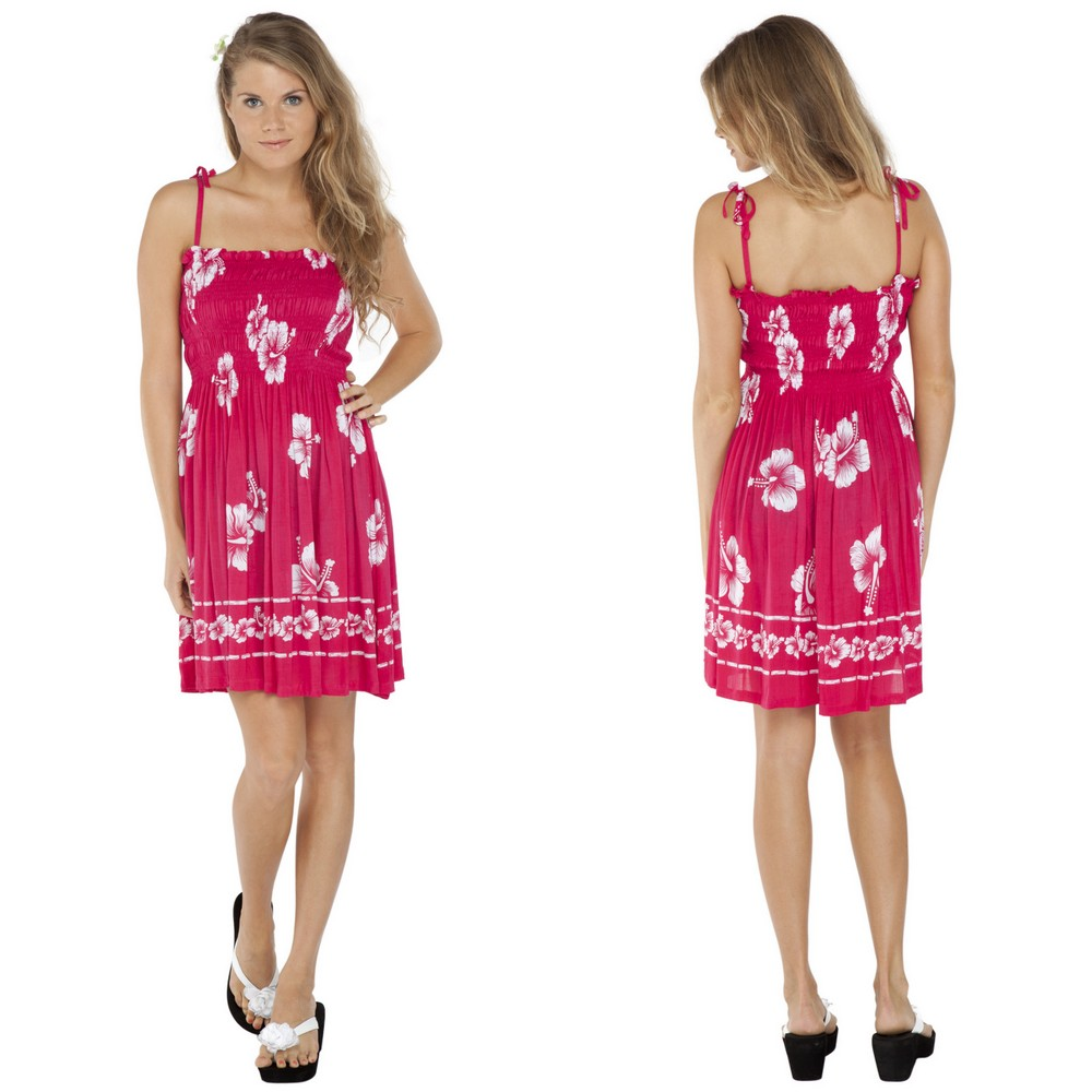 ff4b03d010 Tube Top Sundress Hibiscus Design in Pink  White. Click to Enlarge