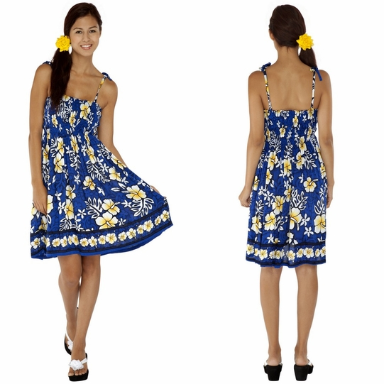 Tube Top Sundress Hibiscus Design in Royal Blue / White