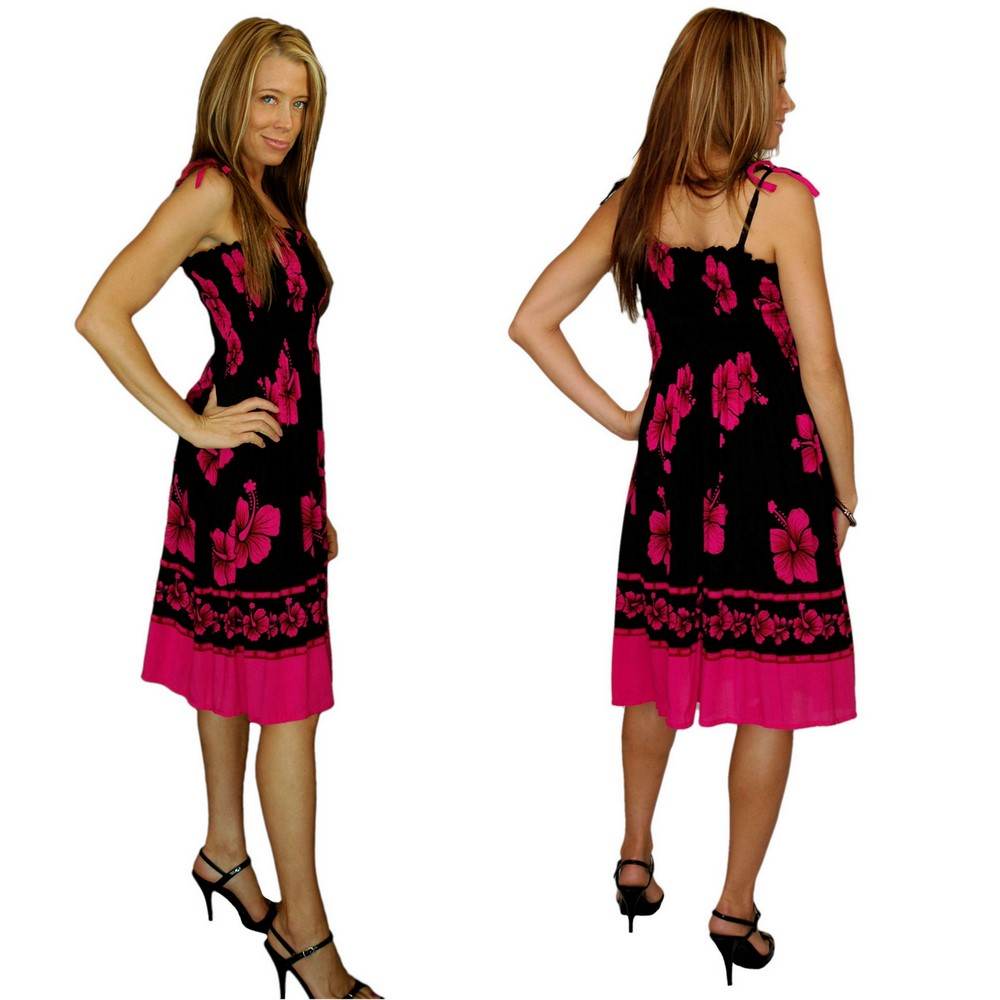5e2a8d45d5 Tube Top Sundress Pink Black Hibiscus Design · Click to Enlarge