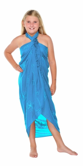 Turquoise Embroidered Girls Sarong