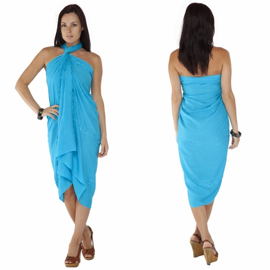 Turquoise Embroidered Sarong