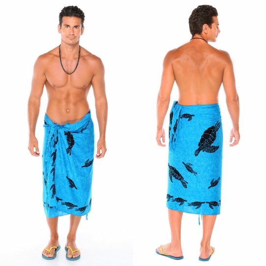 Mens Turtles Sarong in Turquoise