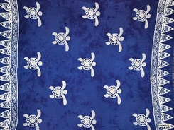 "Turtles Sarong ""Blue / White"" PLUS SIZE"