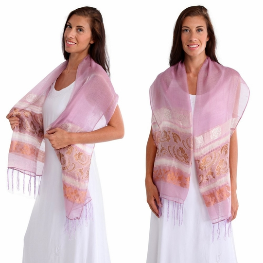 Two Toned Silky Scarf in Light Pink