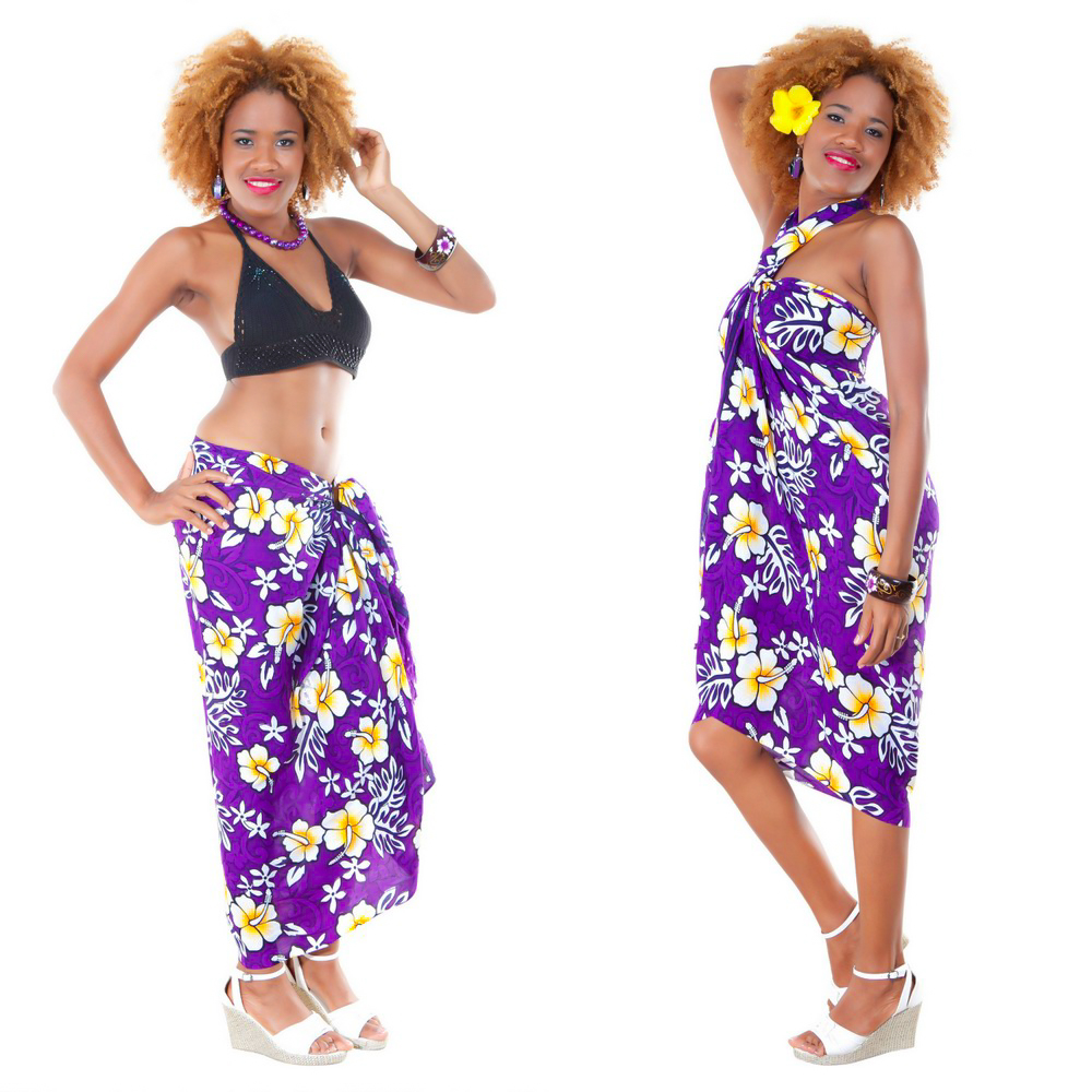 4b7099cee Vivid Hibiscus Flower Sarong in Purple. Click to Enlarge