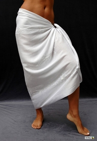 Wedding Embroidered Sarong in White