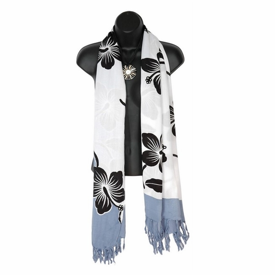White Hibiscus Floral Design Double Wide Scarf, Wrap or Shawl - in your choice of colors