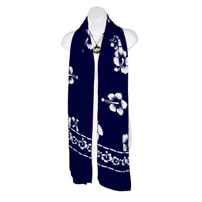 9dcd7fe179405 White Hibiscus Flower Design Scarf, Wrap or Shawl - in your choice of ...