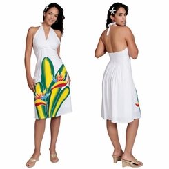White Sundress With Hand Painted Bird Of Paradise Design - Lined