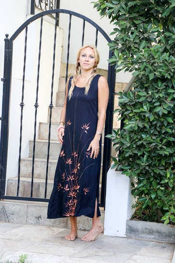 Womens Black Long Dress With Hand Painted Bamboo Design
