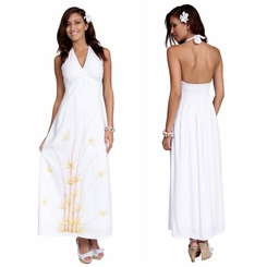 Womens Lined Long Dress - Halter - Bamboo White - Final Sale - No Returns