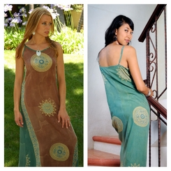 Womens Long Casual Baliku Dress in Brown/Green