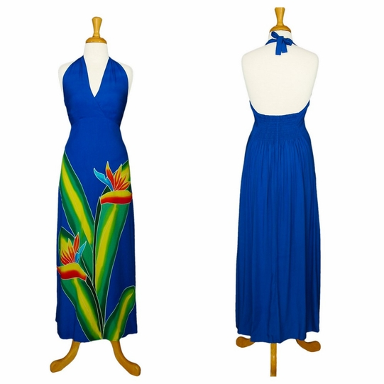 Womens Long Dress with Hand Painted Bird of Paradise Design in Royal Blue