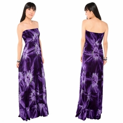 Womens Long Dress with Smoked Purple Design - Final Sale - No Returns
