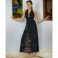 Womens Long Halter Dress with Bamboo Design