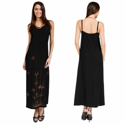 Womens Long Summer Dress with Bamboo Design - Final Sale - No Returns