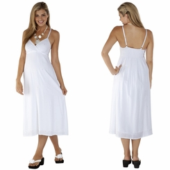 Womens Long Summer Embroidered Cross Over Dress in White - Final Sale - No Returns