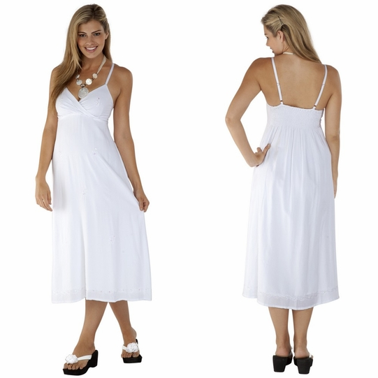 Womens Long Summer Embroidered Cross Over Dress in White