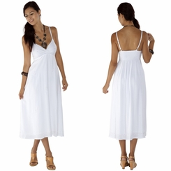 Womens Long Summer Embroidered Cross Over Dress in White - Lined - Final Sale - No Returns