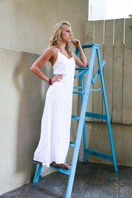 Womens Long White Summer Dress - Lined