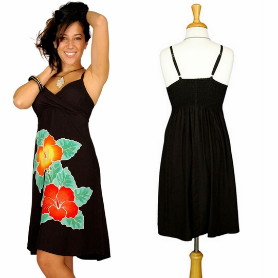 Womens Mini Black Dress With Hand Painted Hibiscus Design