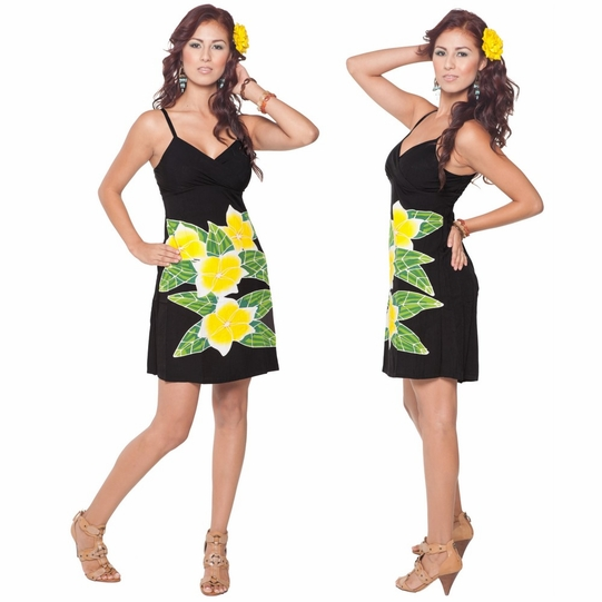Womens Mini Black Dress With Hand Painted Plumeria Design