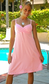 Womens Mini Dress / Short Dress - Light Pink