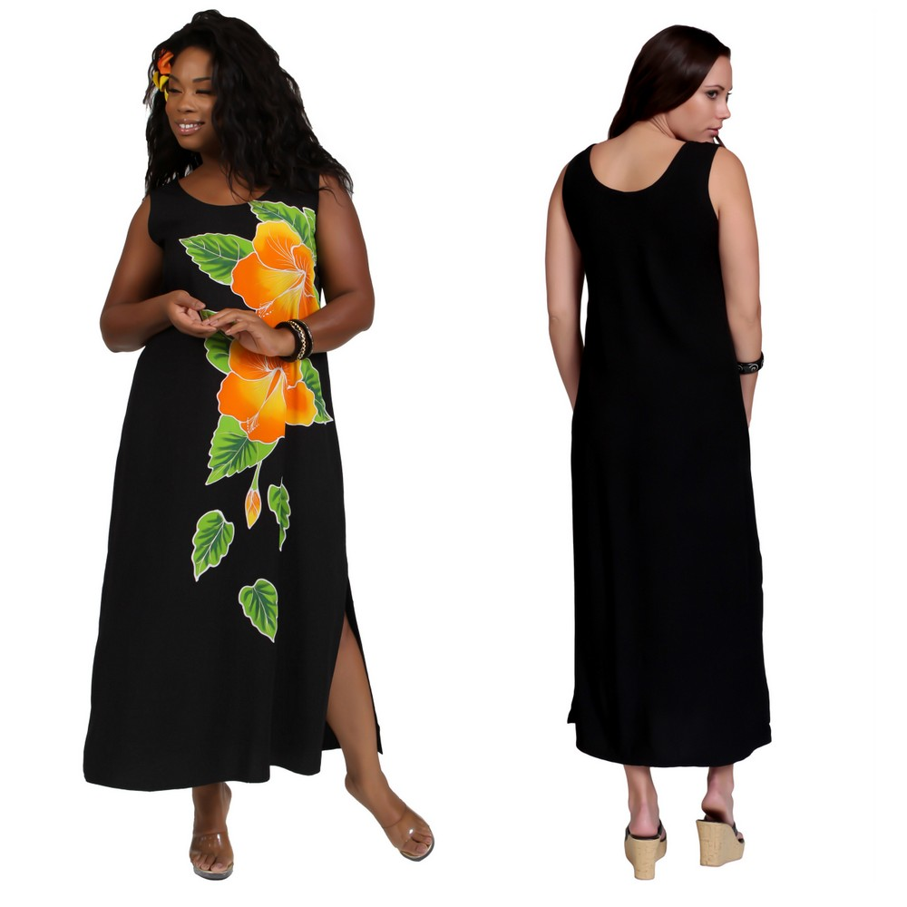Womens Plus Size Long Dress with Hand Painted Batik Hibiscus Design