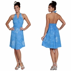 Womens Sundress - Halter - Hibiscus Blue