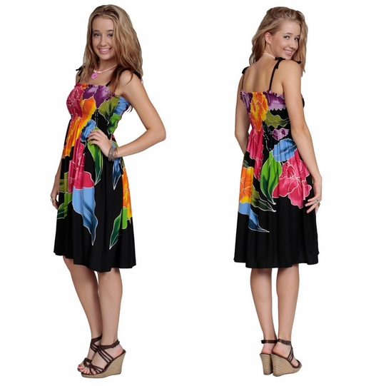 Womens Sundress/Tube Dress in Black with Bright Floral Design