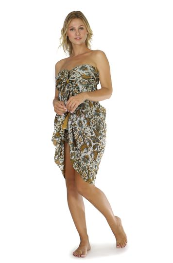 Womens Traditional FRINGELESS Cotton Sarong in Gold and Grey