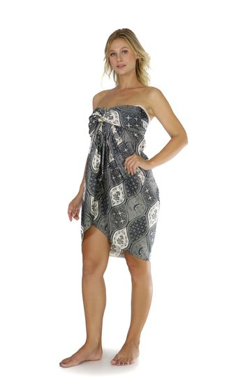 Womens Traditional FRINGELESS Cotton Sarong in Greys and Black