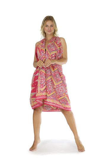 Womens Traditional FRINGELESS Cotton Sarong in Pink and Gold