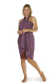 Womens Traditional FRINGELESS Cotton Sarong in Purple