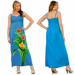 Womens Turquoise Long V-Neck Dress with Floral Design