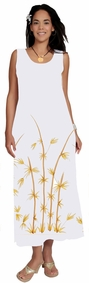 Womens White Long Dress With Hand Painted Bamboo Design Lined - Final Sale - No Returns