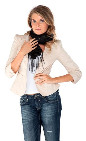 Woven Scarf with Gold Thread in Black