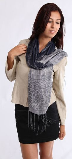 Woven Scarf With Gold Thread in Blue