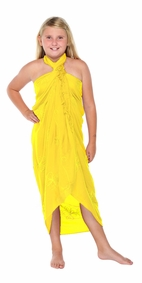 Yellow Embroidered Girls Sarong