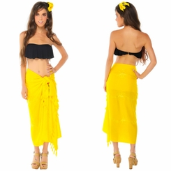 Yellow Embroidered Sarong - Final Sale - No Returns