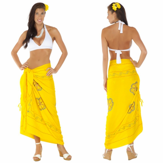 Yellow Sarong w/ Triple Embroidery